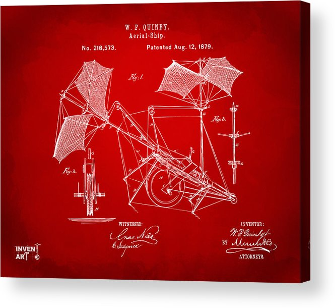 Aerial Ship Acrylic Print featuring the digital art 1879 Quinby Aerial Ship Patent - Red by Nikki Marie Smith