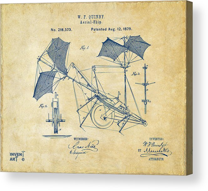 Aerial Ship Acrylic Print featuring the drawing 1879 Quinby Aerial Ship Patent - Vintage by Nikki Marie Smith