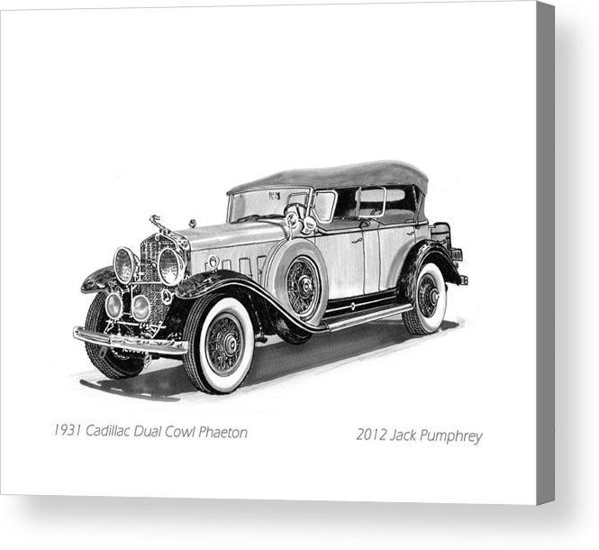 Pen And Ink Art Of Classic 1931 Cadillac Dual Cowl Phaeton By Jack Pumphrey Acrylic Print featuring the painting 1931 Cadillac Phaeton by Jack Pumphrey