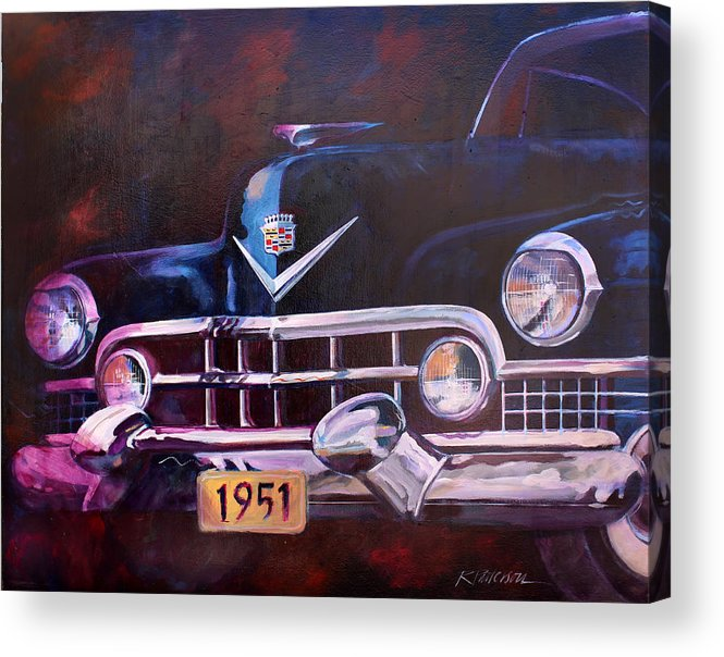 Transportation Acrylic Print featuring the painting 1951 Cadillac by Ron Patterson