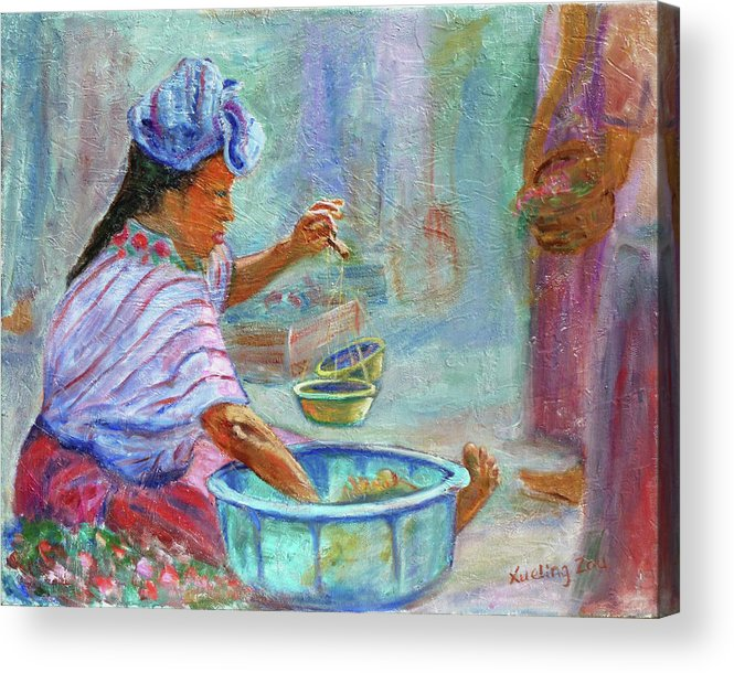 Figurative Acrylic Print featuring the painting Guatemala Impression Iv by Xueling Zou