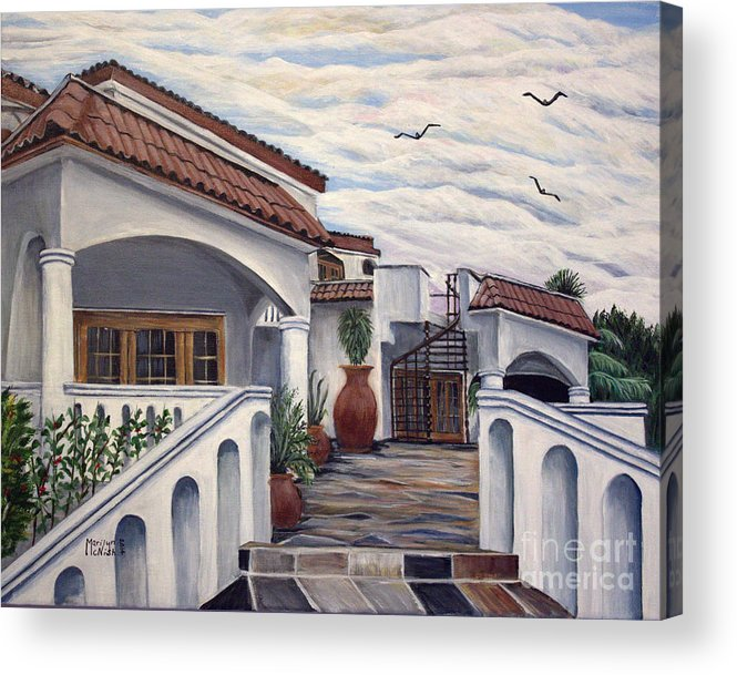 Clay Pots Acrylic Print featuring the painting 3 Pots by Marilyn McNish