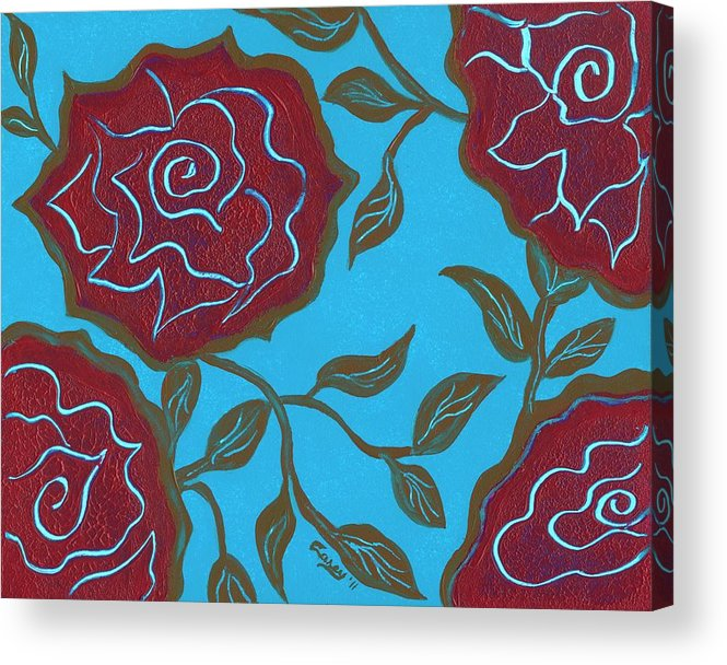 Pink Roses Acrylic Print featuring the painting Soul Sisters by Carey Waters