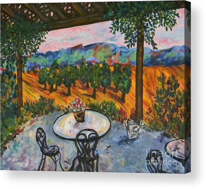 Landscape Acrylic Print featuring the painting Spot To Wine And Dine by Emily Michaud