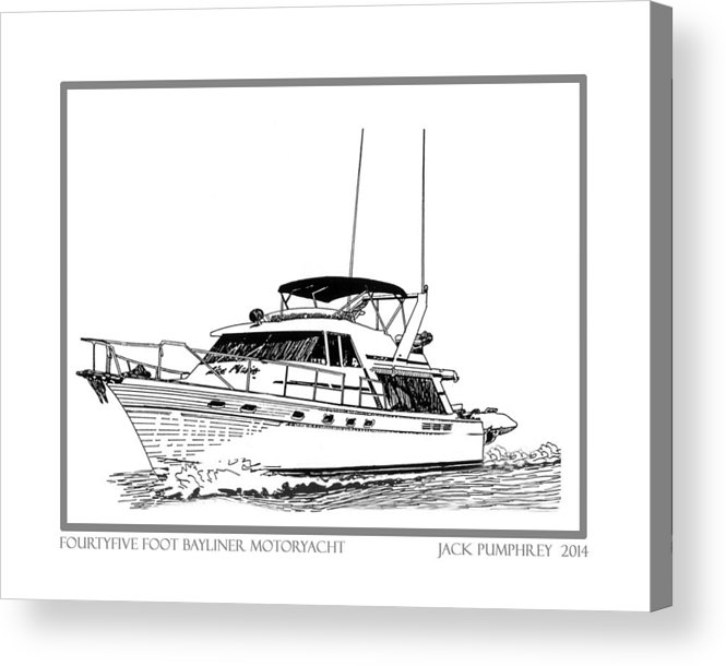 Yacht Portraits Acrylic Print featuring the photograph 45 Foot Bayliner Motoryacht by Jack Pumphrey
