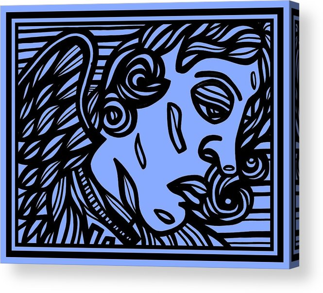 Blue Acrylic Print featuring the drawing Bouthillette Angel Cherub Blue Black by Eddie Alfaro
