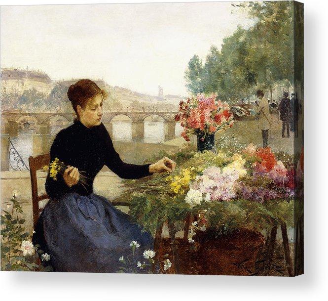 Victor Gabriel Gilbert Acrylic Print featuring the painting A Parisian Flower Market by Victor Gabriel Gilbert