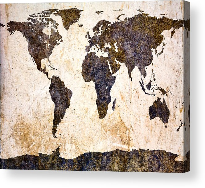 Map Acrylic Print featuring the digital art Abstract Earth Map by Bob Orsillo