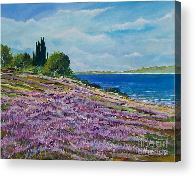 Landscape Acrylic Print featuring the painting Along The Shore by Sinisa Saratlic