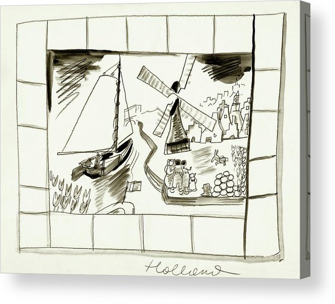 Illustration Acrylic Print featuring the digital art An Illustrated Depiction Of Holland by Ludwig Bemelmans
