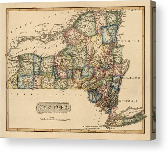 photo regarding Printable Maps of New York State titled Antique Map Of Fresh York Place Through Fielding Lucas - Circa 1817 Acrylic Print