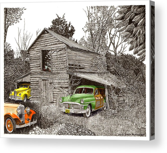 Classic Car Art Acrylic Print featuring the painting Barn Finds Classic Cars by Jack Pumphrey