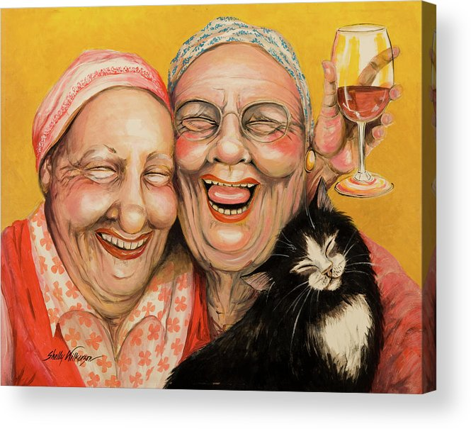 Best Friends Acrylic Print featuring the painting Bestest Friends by Shelly Wilkerson
