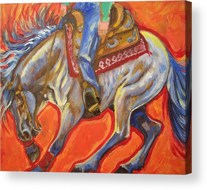 Horse Acrylic Print featuring the painting Blue Roan Reining Horse Spin by Jenn Cunningham