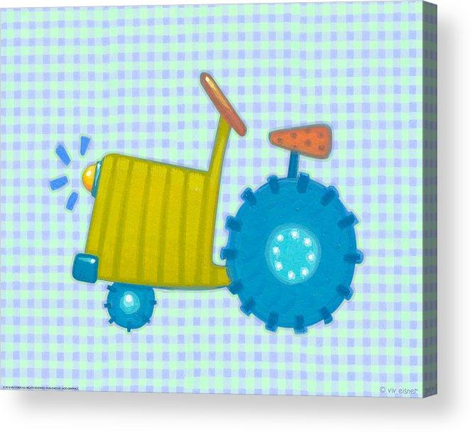 Nursery Acrylic Print featuring the digital art Blue Tractor by Viv Eisner