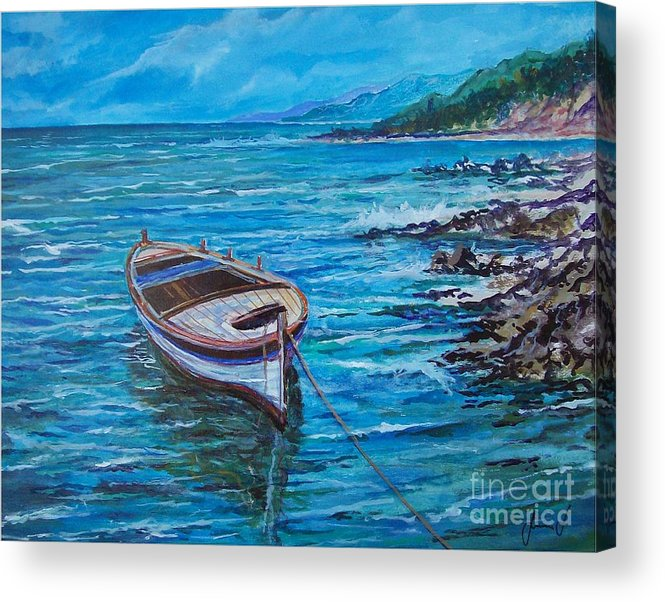 Beach And Waves Acrylic Print featuring the painting Boat by Sinisa Saratlic