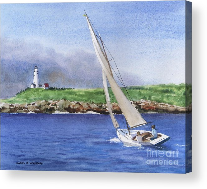Seascape Acrylic Print featuring the painting Boston Light by Karol Wyckoff