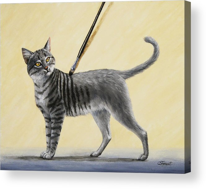 Cat Acrylic Print featuring the painting Brushing The Cat - No. 2 by Crista Forest