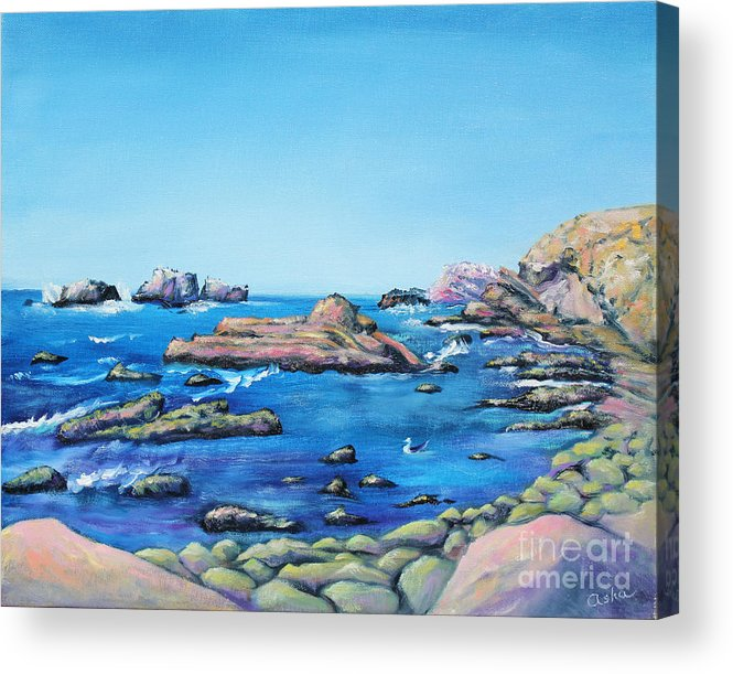 Ocean Painting Acrylic Print featuring the painting Calm Surf With Water Bird by Asha Carolyn Young