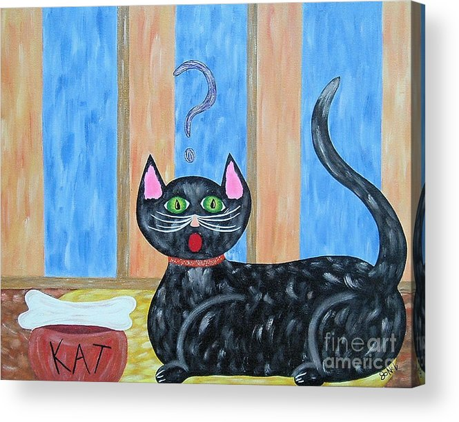 Cat Acrylic Print featuring the painting Cat And Bone by JoNeL Art