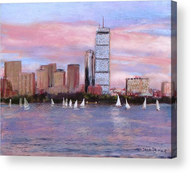Boston Acrylic Print featuring the painting Charles River Boston by Jack Skinner