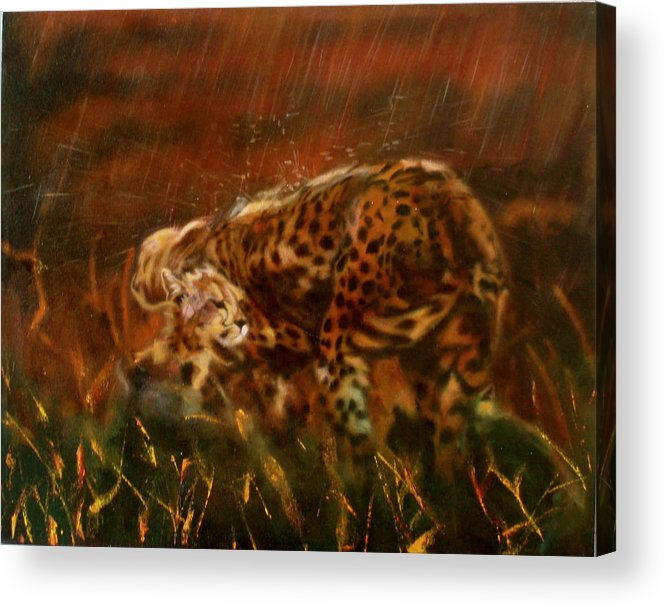 Rain;water;cats;africa;wildlife;animals;mother;shelter;brush;bush Acrylic Print featuring the painting Cheetah Family After The Rains by Sean Connolly