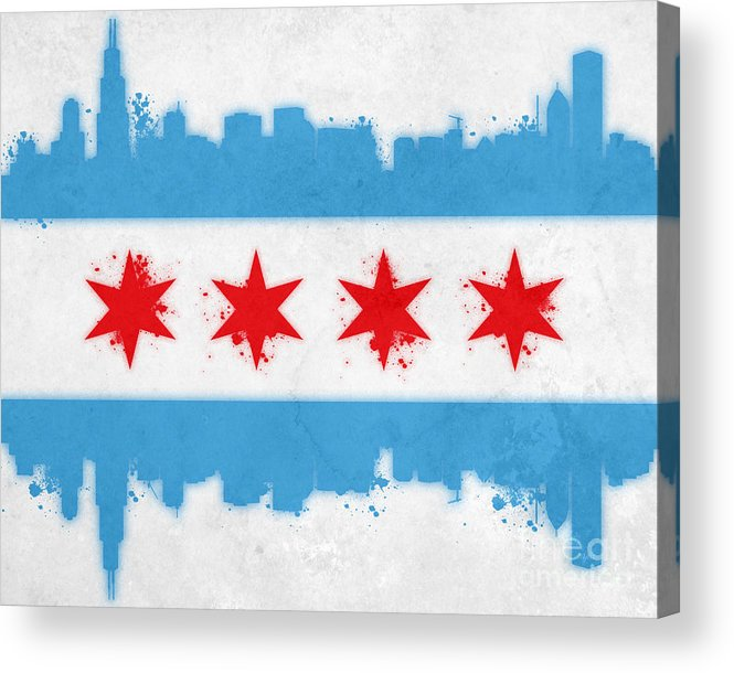 Chicago Acrylic Print featuring the painting Chicago Flag by Mike Maher