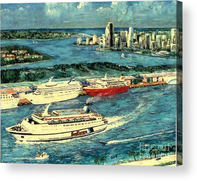 Miami Florida Acrylic Print featuring the painting Cruising Miami by George I Perez