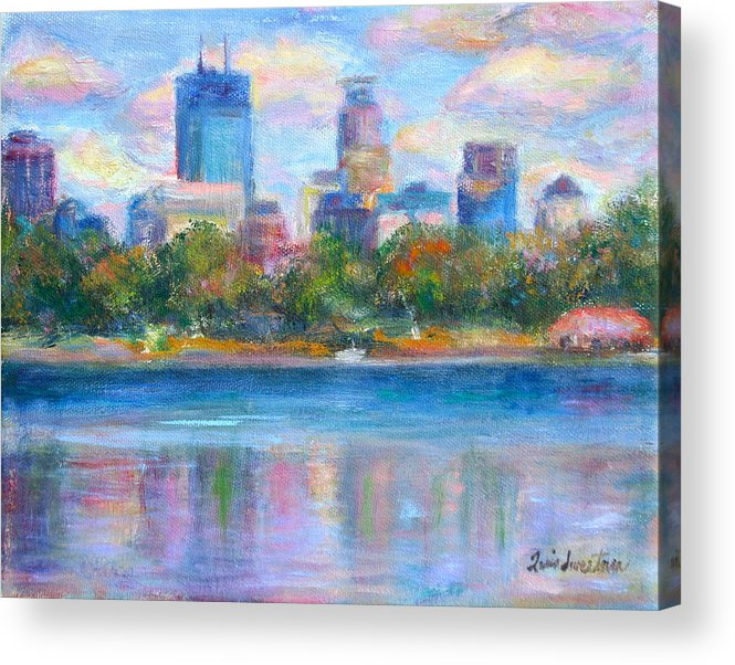 Quin Sweetman Acrylic Print featuring the painting Downtown Minneapolis Skyline From Lake Calhoun by Quin Sweetman