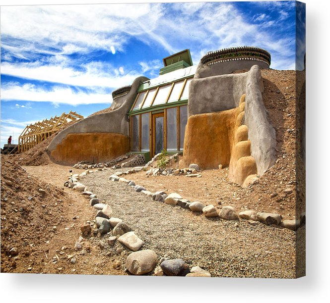 Landscapes Acrylic Print featuring the photograph Earthship Taos by Shanna Gillette