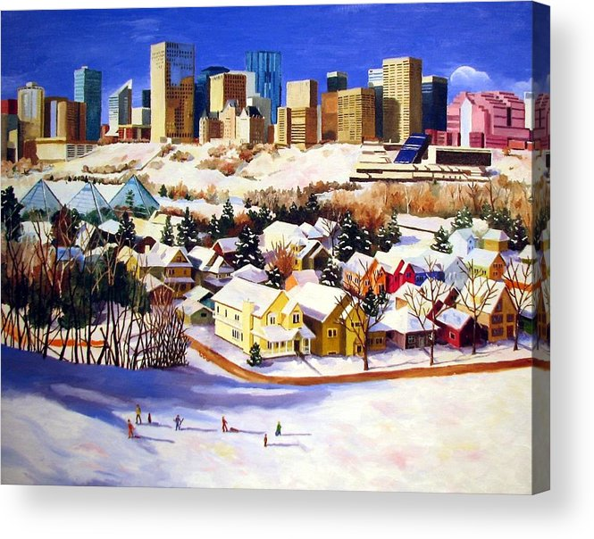 Urbanscape Acrylic Print featuring the painting Edmonton In Winter by Nel Kwiatkowska