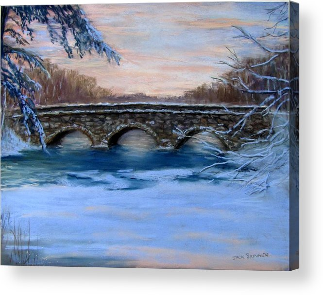 Concord. Winter Acrylic Print featuring the painting Elm Street Bridge On A Winter's Morn by Jack Skinner