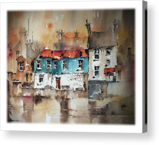 Val Byrne Acrylic Print featuring the painting Ennistymon Backwater Clare by Val Byrne