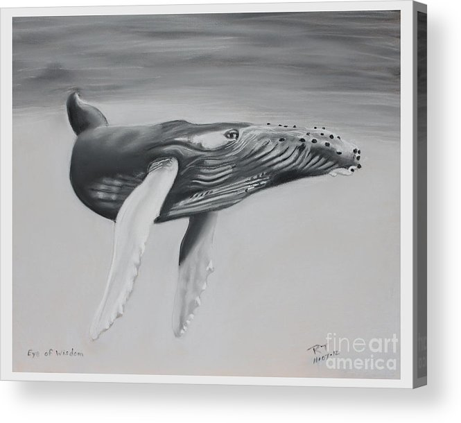 Whales Acrylic Print featuring the pastel Eye Of Wisdom by Robert Timmons