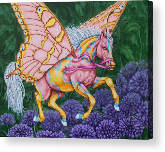 Horses Acrylic Print featuring the painting Faery Horse Hope by Beth Clark-McDonal