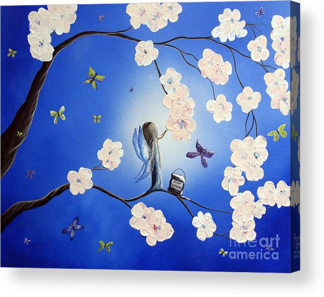 Butterfly Acrylic Print featuring the painting Fairy Blossoms By Shawna Erback by Artisan Parlour