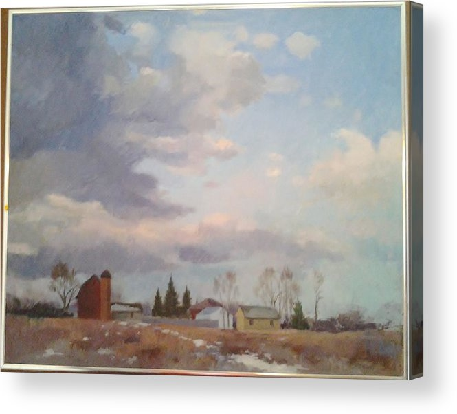 Farm Acrylic Print featuring the painting Farm Scene by Edwin A Ziarko