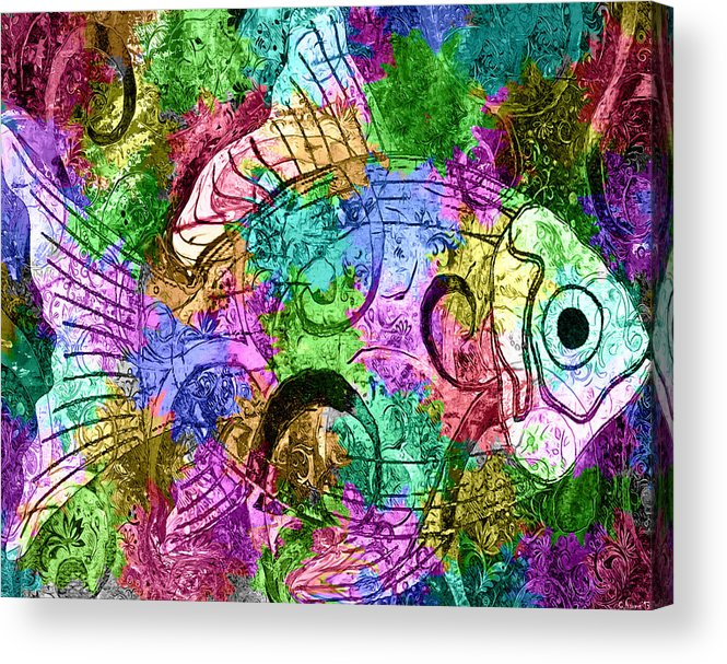 Fish Acrylic Print featuring the mixed media Fish Paisley by Catherine Harms
