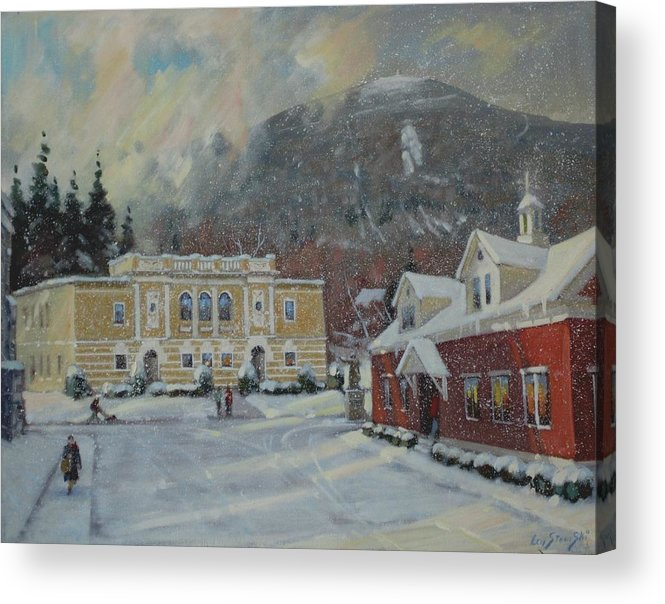 Berkshire Hills Paintings Acrylic Print featuring the painting Flurries Over Mount Greylock by Len Stomski