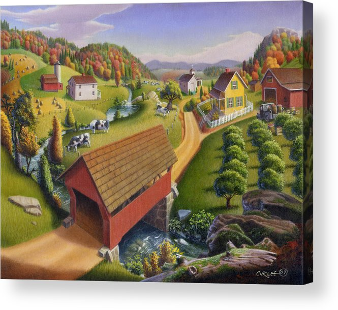 Covered Bridge Acrylic Print featuring the painting Folk Art Covered Bridge Appalachian Country Farm Summer Landscape - Appalachia - Rural Americana by Walt Curlee