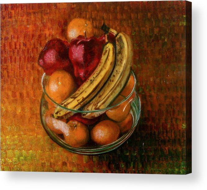 Still Life Acrylic Print featuring the painting Glass Bowl Of Fruit by Sean Connolly