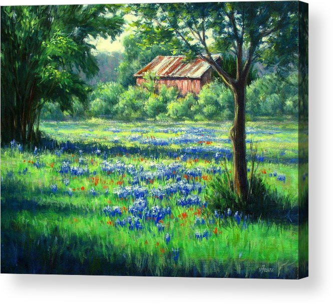 Vickie Fears Acrylic Print featuring the painting Glen Rose Bluebonnets by Vickie Fears