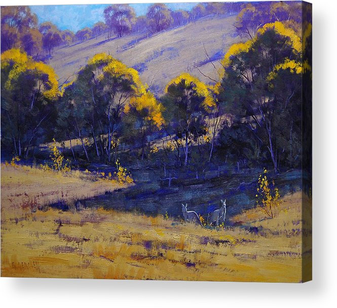 Rural Acrylic Print featuring the painting Grazing Kangaroos by Graham Gercken