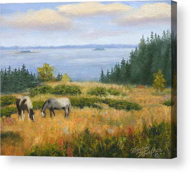 Landscape Acrylic Print featuring the painting Grazing With A View by Tommy Thompson