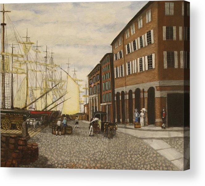 Harbor Acrylic Print featuring the painting Boston Harbor by Larry E Lamb