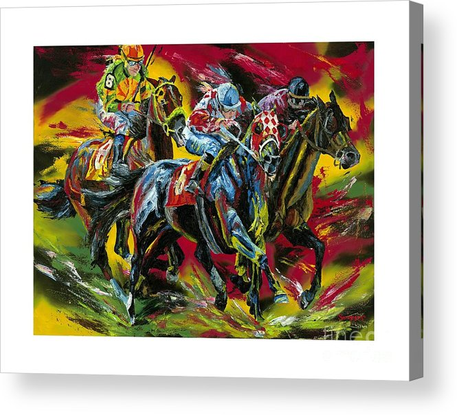 Horse Racing Acrylic Print featuring the painting Head To Head by Debbie Sampson