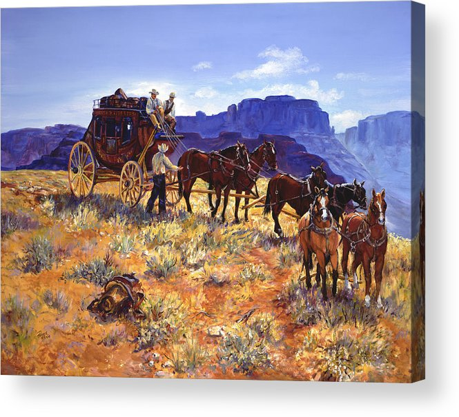 Stagecoach Acrylic Print featuring the painting Hitchin by Page Holland