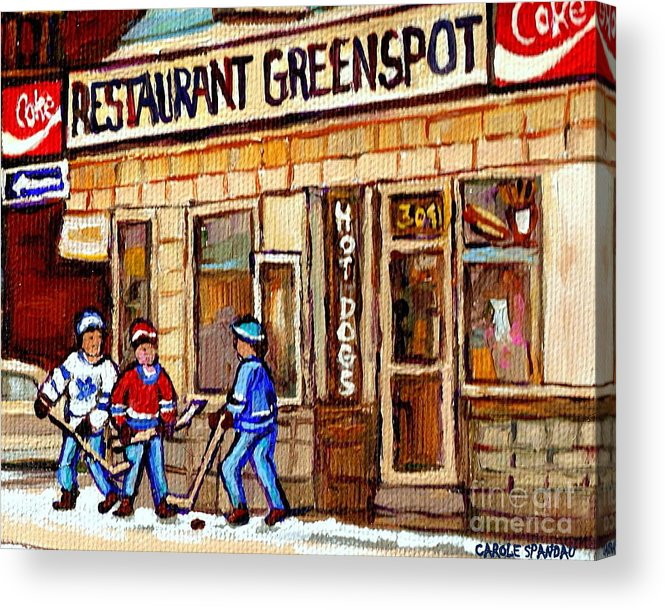 Restaurant Greenspot Acrylic Print featuring the painting Hockey And Hotdogs At The Greenspot Diner Montreal Hockey Art Paintings Winter City Scenes by Carole Spandau