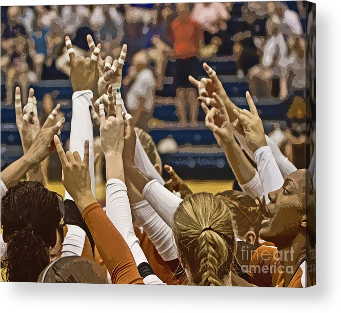 Texas Acrylic Print featuring the photograph Hook 'em Horns by Tom Gari Gallery-Three-Photography