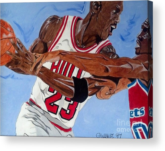 Sports Paintings Acrylic Print featuring the painting Michael Jordan by Nathaniel Gawayne Sutton